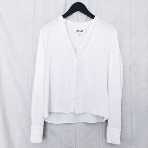 DVF White Silk Button Down Blouse